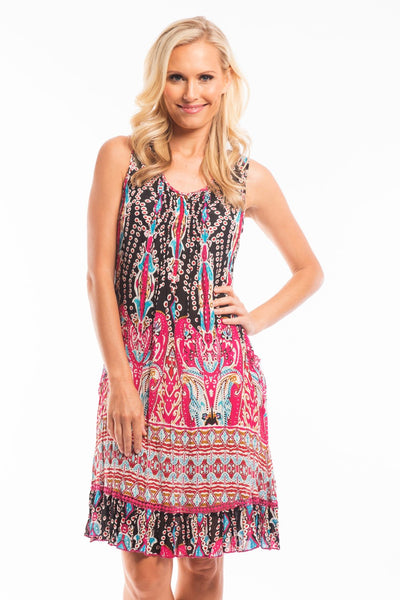 Pink Black Sleeveless Tunic Dress - at I Love Tunics @ www.ilovetunics.com = Number One! Tunics Destination