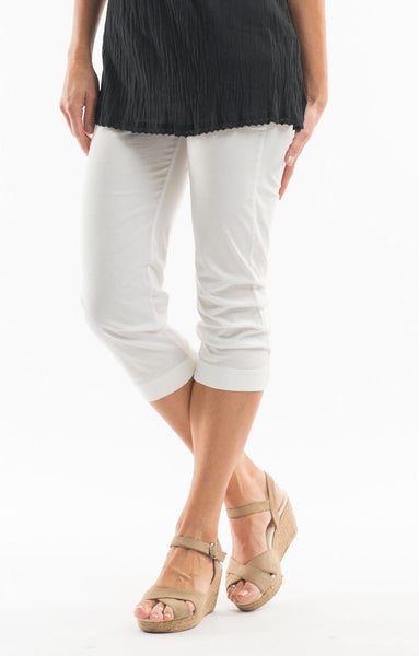 3/4 White Cotton Pants