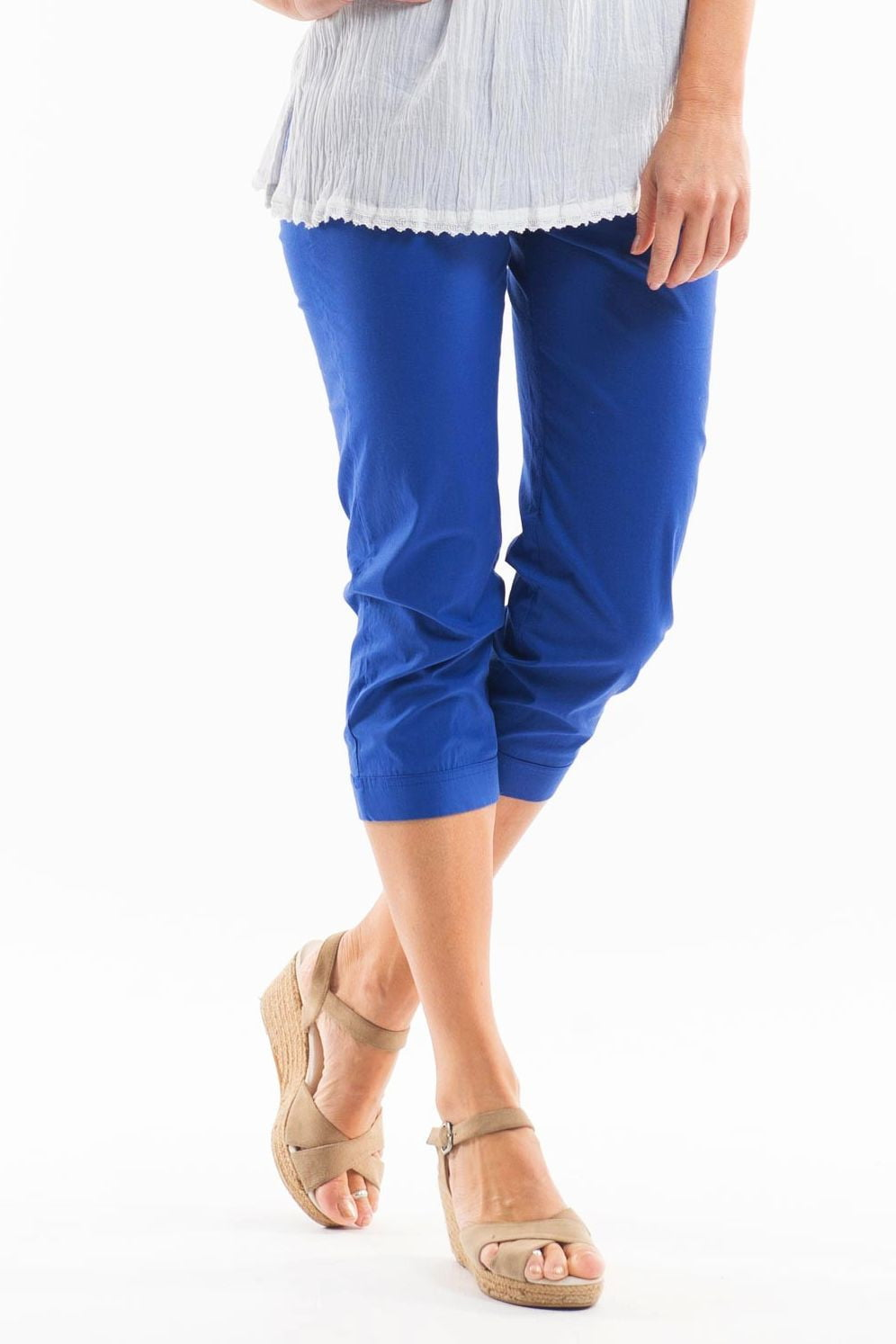 3/4 Cobalt Blue Cotton Pants | I Love Tunics | Tunic Tops | Tunic Dresses | Women's Tops | Plus Size Australia | Mature Fashion