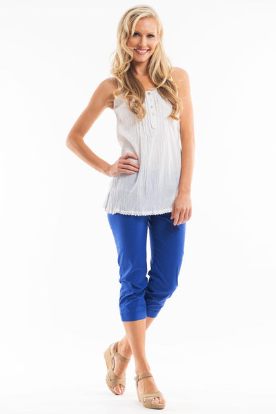 3/4 Cobalt Blue Cotton Pants | I Love Tunics | Tunic Tops | Tunic | Tunic Dresses  | womens clothing online