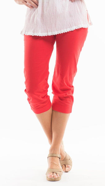3/4 Red Cotton Pants