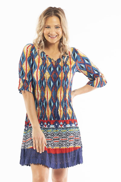Peruvian Loom Short Sleeve Colourful Tunic