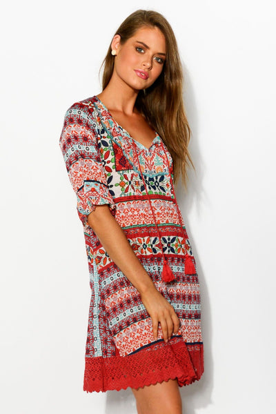 Scarf Patch DWIJ Boho Tunic Dress