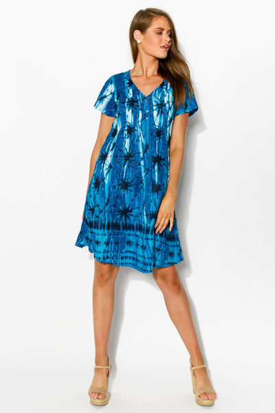 Indigo Shibori Tie Dye Crinkle Tunic Dress
