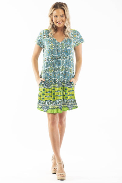 Jade Tiles Crinkle Tunic Dress