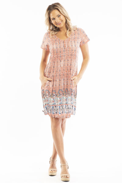 Peach Candy Cap Sleeve Tunic Dress
