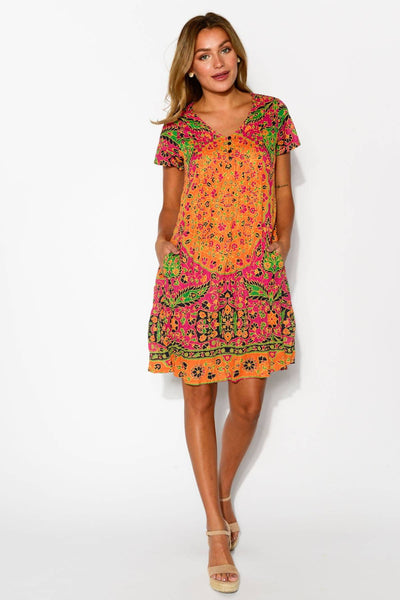 Colourful Rajasthan Crinkle Tunic Dress