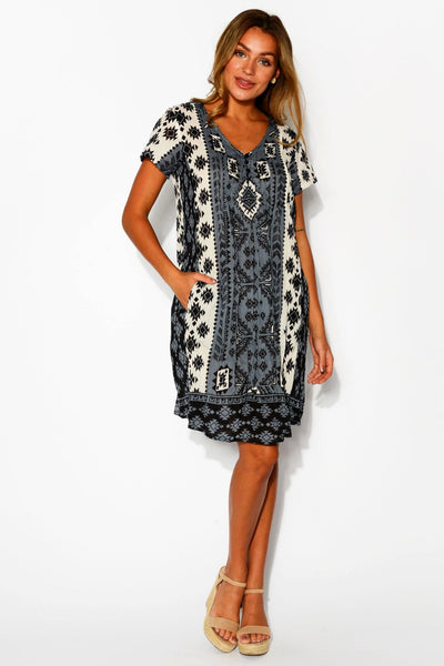 Tribal Geos Tunic Dress Cap Sleeve