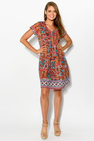 Turkish Delight Cap Sleeve Crinkle Tunic Dress
