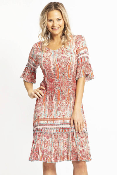 Long pink rayon dress