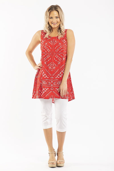 Red White Sleeveless Tunic Top