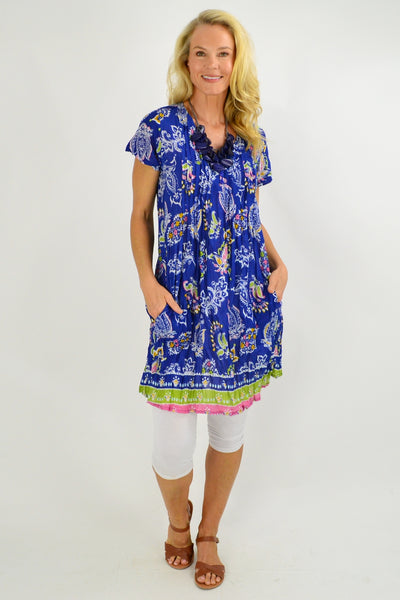 Blue Paisley Cap Sleeve Tunic Top