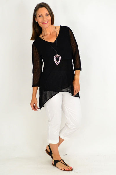 Black Eleanor Tunic Top