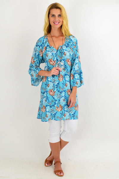 Blue Floral Light & Pretty Tunic Top