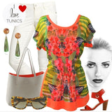 Orange Flower Tunic - at I Love Tunics @ www.ilovetunics.com = Number One! Tunics Destination