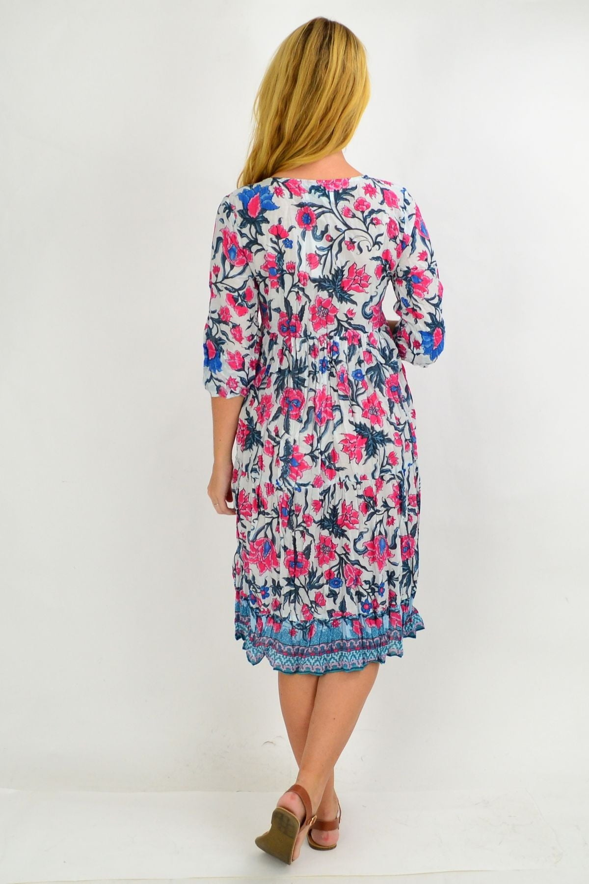 Pink Floral Tie Neck Tunic Dress
