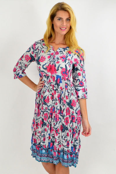 Pink Floral Tie Neck Tunic Dress | I Love Tunics | Tunic Tops | Tunic | Tunic Dresses  | womens clothing online