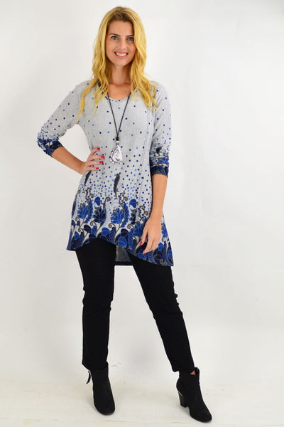 Navy Blue Floral Ferguson Tunic Top