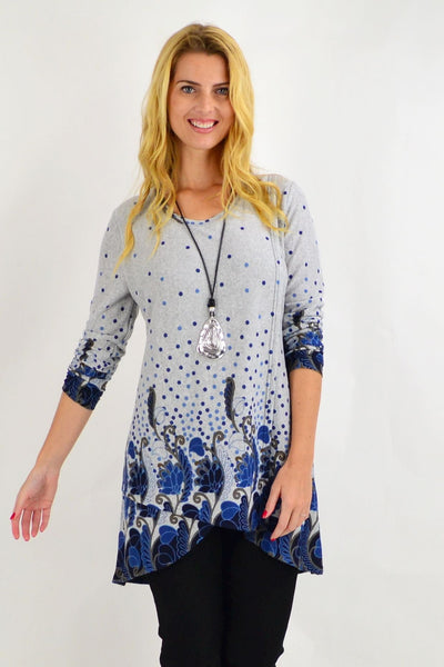 Navy Blue Floral Ferguson Tunic Top | I Love Tunics | Tunic Tops | Tunic | Tunic Dresses  | womens clothing online