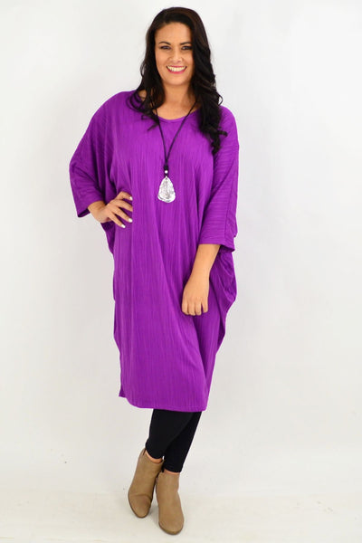 Purple Ribbed Oversized Tunic Dress