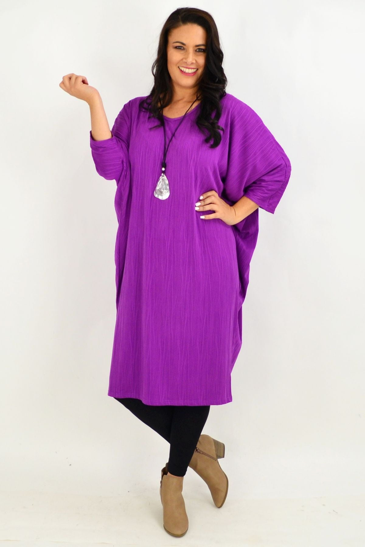 Purple Ribbed Oversized Tunic Dress | I Love Tunics | Tunic Tops | Tunic | Tunic Dresses  | womens clothing online