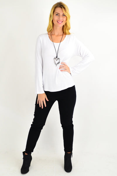 White Button Up Long Sleeve Basic Top