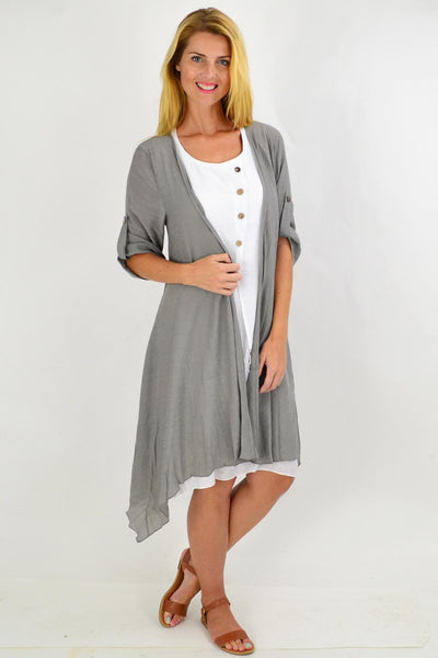 Grey Quarter Sleeve Easy Wear Summer Cardi