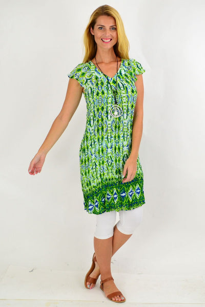 Green Pattern Short Sleeve Tunic Dress