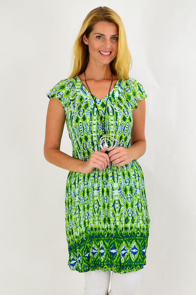 Green Pattern Short Sleeve Tunic Dress | I Love Tunics | Tunic Tops | Tunic | Tunic Dresses  | womens clothing online