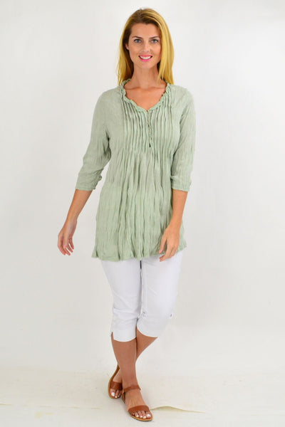 Sage Green Pleat Crinkle Tunic Top