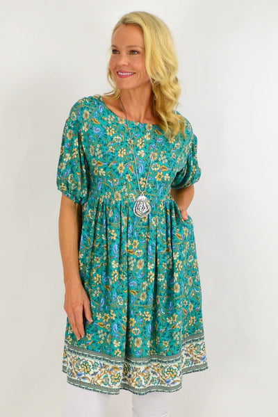 Emerald Green Puff Sleeve Tunic Dress | I Love Tunics | Tunic Tops | Tunic | Tunic Dresses  | womens clothing online