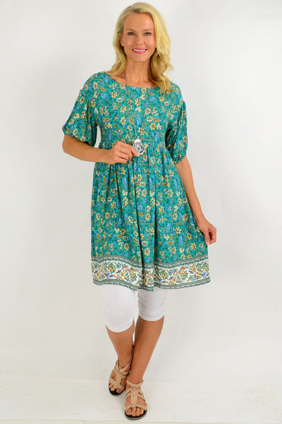 Emerald Green Puff Sleeve Tunic Dress