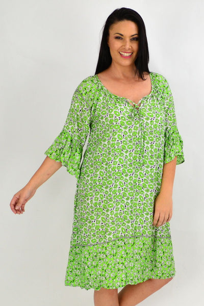Green Daisy Crinkle Tie Tunic Dress