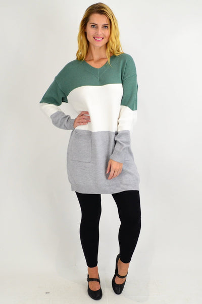 Green V neck Woolly Winter Tunic Jumper