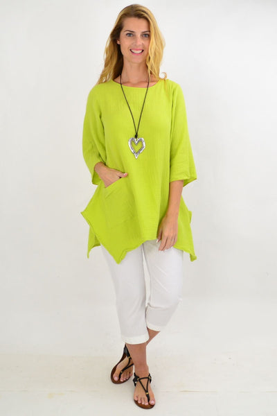 Lime Green Cotton Pocket Tunic Top