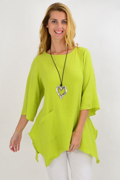Lime Green Cotton Pocket Tunic Top | I Love Tunics | Tunic Tops | Tunic | Tunic Dresses  | womens clothing online