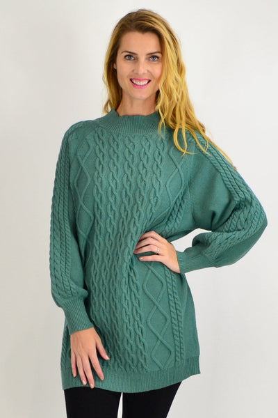 Green Cable Knit Woolly Tunic Jumper - I Love Tunics