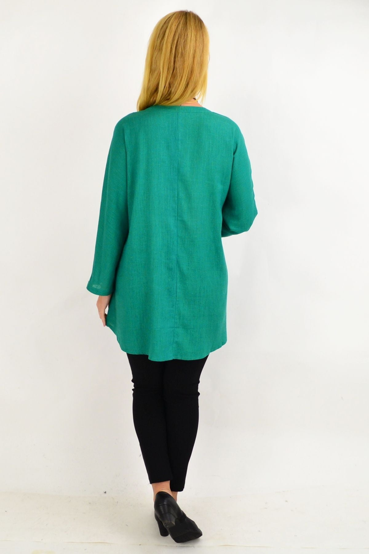 Green V Neck Linen Tunic Shirt | I Love Tunics | Tunic Tops | Tunic | Tunic Dresses  | womens clothing online