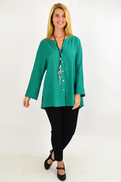Green V Neck Linen Tunic Shirt