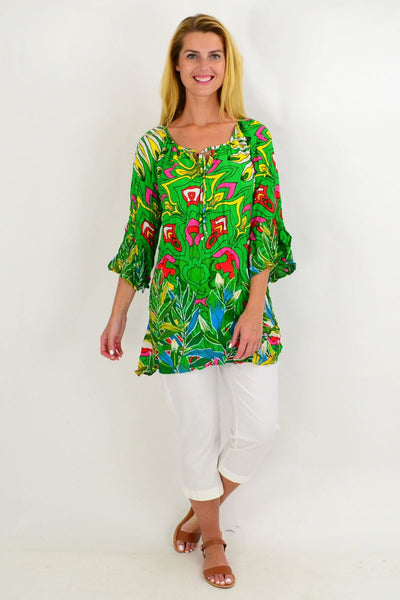 Green Floral Crinkle Tie Tunic Top