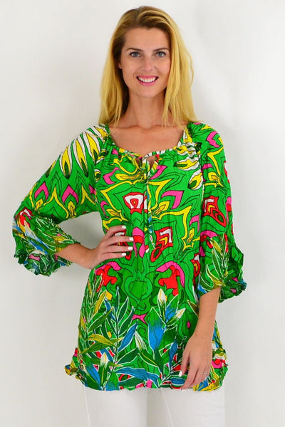 Green Floral Crinkle Tie Tunic Top | I Love Tunics | Tunic Tops | Tunic | Tunic Dresses  | womens clothing online