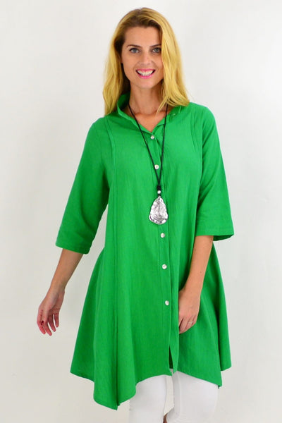 Green Stand Collar Long Shirt