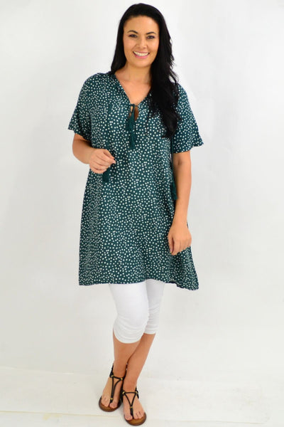 Green Spot Tie Up Neck Tunic Dress