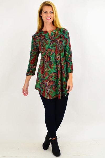 Green Paisley Tunic Top