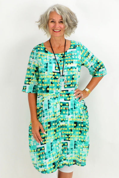 Turquoise Dotty Dot Tunic Dress
