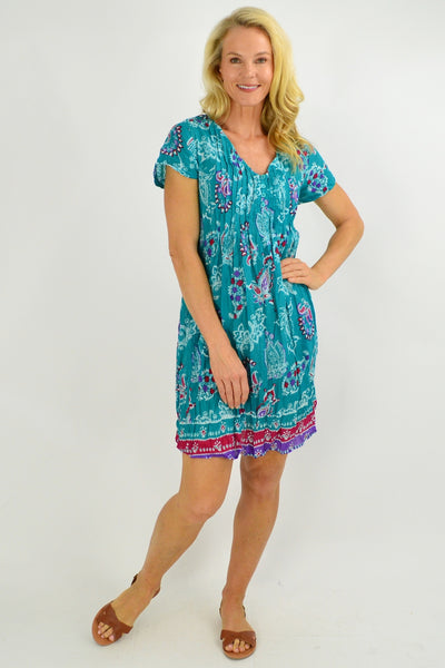 Green Paisley Cap Sleeve Tunic Top - I Love Tunics