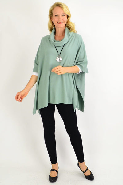 Sage Green Oversized Knit Tunic Jumper