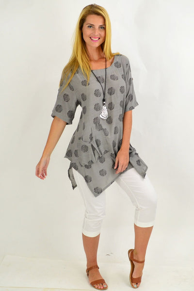 Grey Black Dots Tunic Top