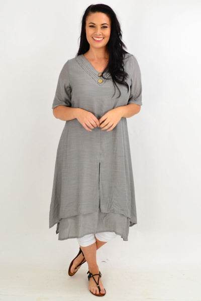Grey Overlay Tunic Dress