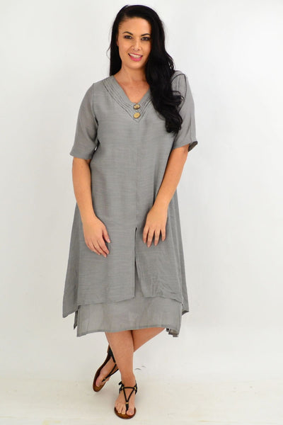 Grey Overlay Tunic Dress | I Love Tunics | Tunic Tops | Tunic | Tunic Dresses  | womens clothing online